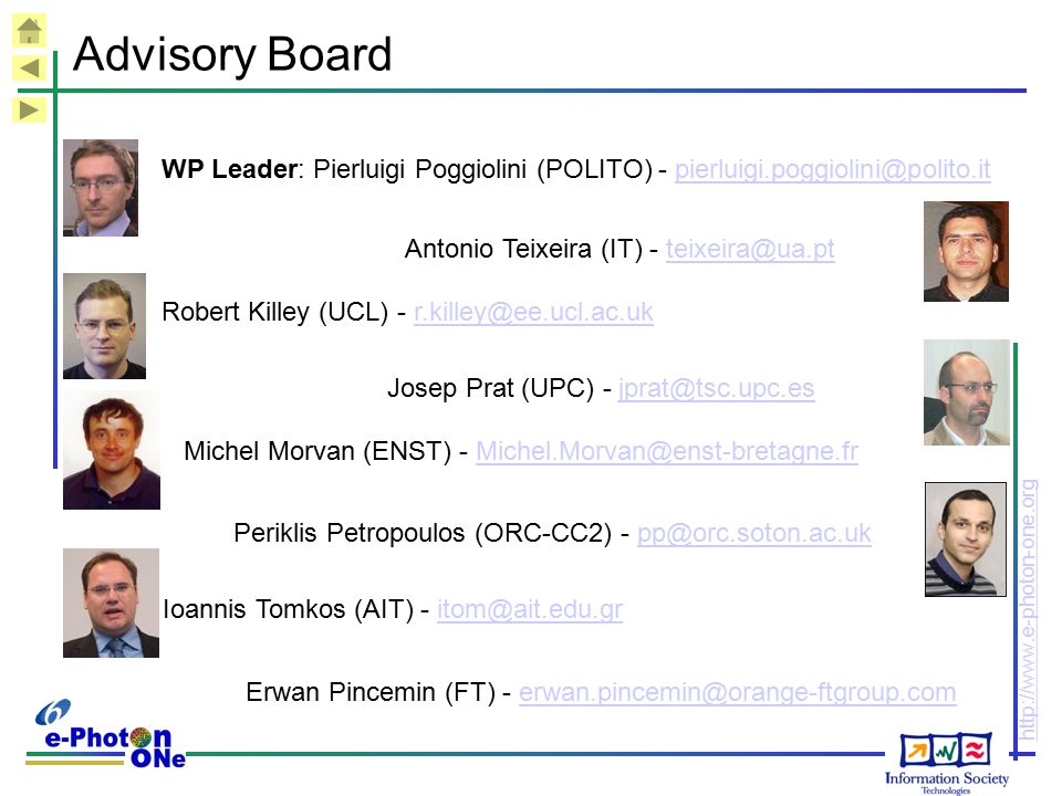 Advisory Board WP Leader: Pierluigi Poggiolini (POLITO) - pierluigi.poggiolini@polito.it. Antonio Teixeira (IT) - teixeira@ua.pt.