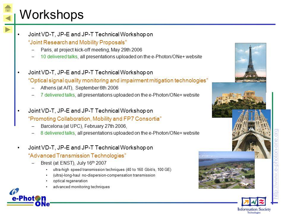 Workshops Joint VD-T, JP-E and JP-T Technical Workshop on