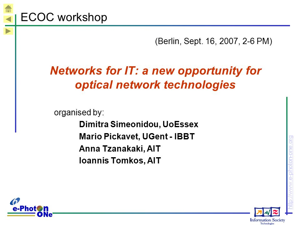 Networks for IT: a new opportunity for optical network technologies