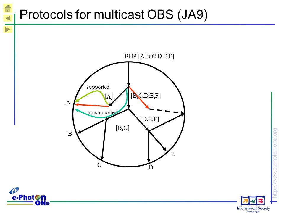 Protocols for multicast OBS (JA9)