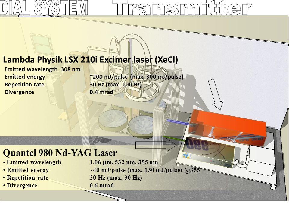 DIAL SYSTEM Transmitter Lambda Physik LSX 210i Excimer laser (XeCl)
