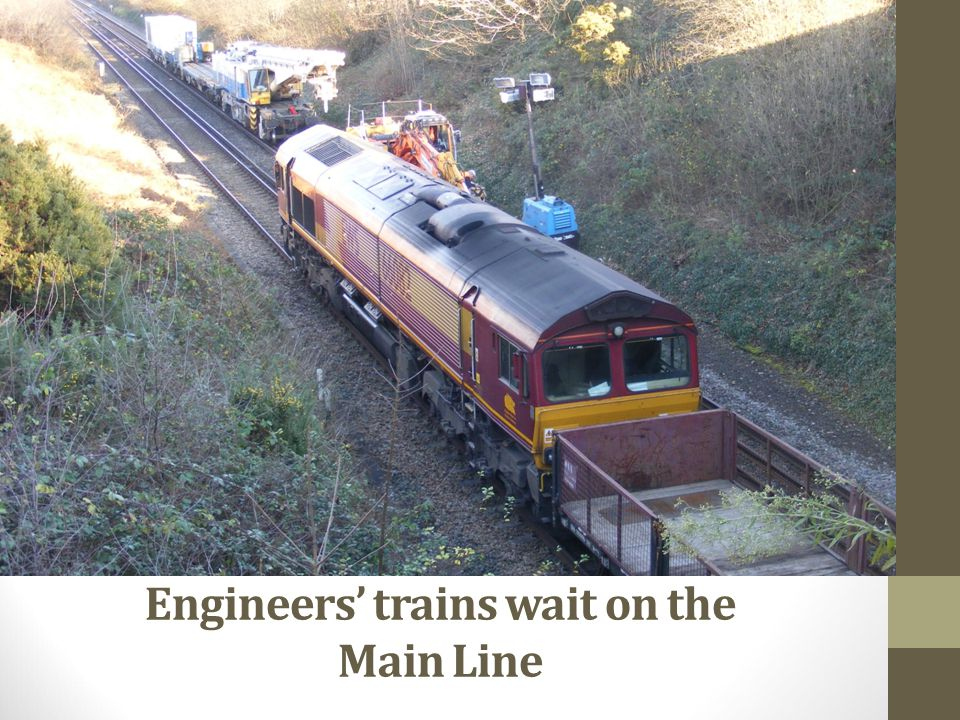 Engineers' trains wait on the Main Line