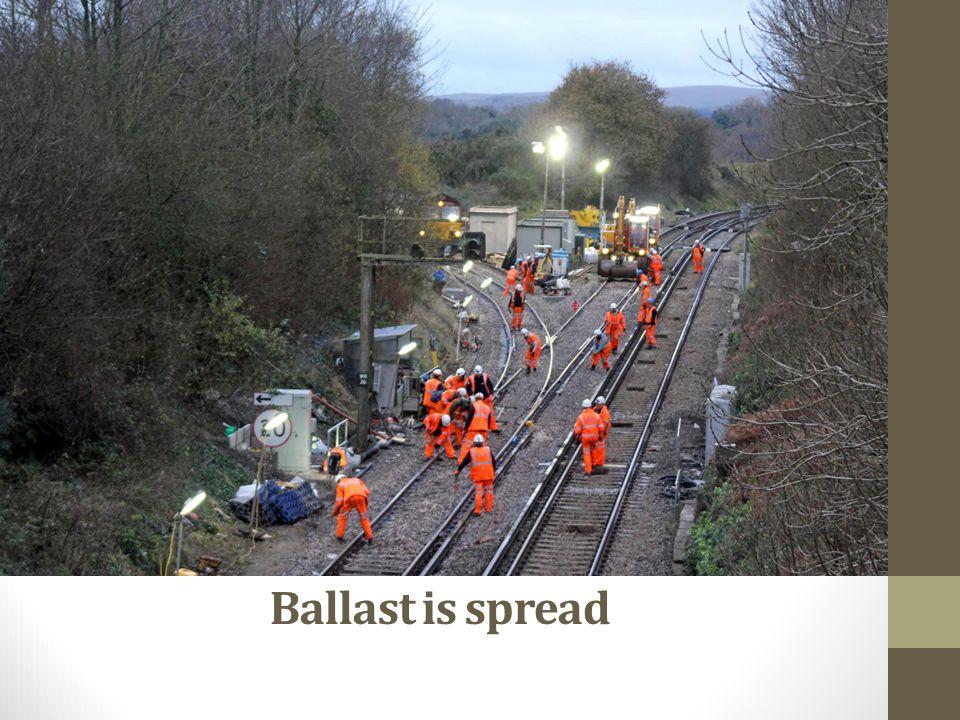 Ballast is spread