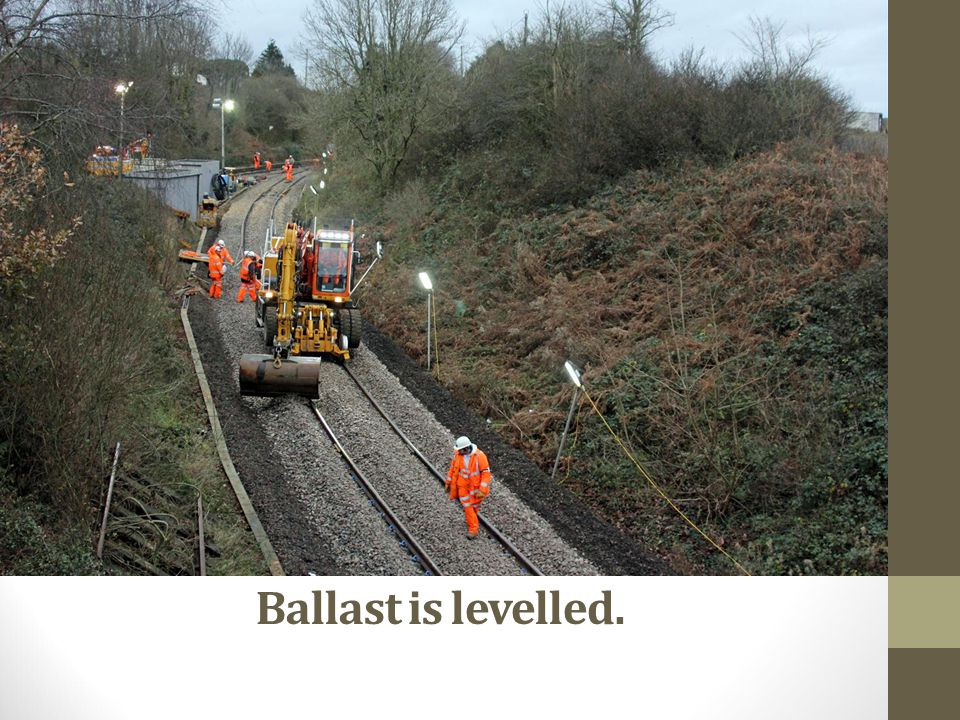 Ballast is levelled.