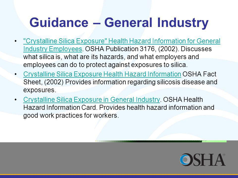 Guidance – General Industry