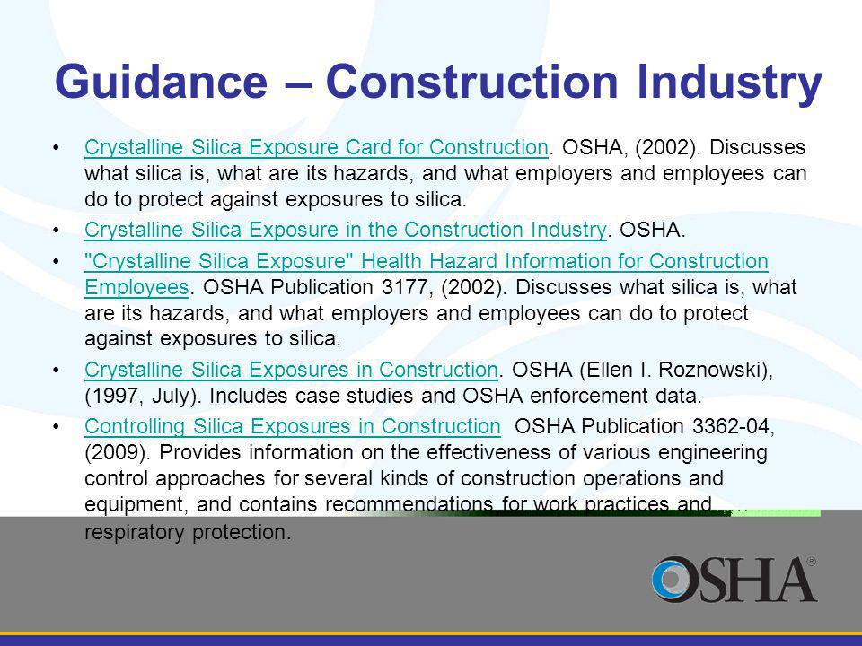 Guidance – Construction Industry