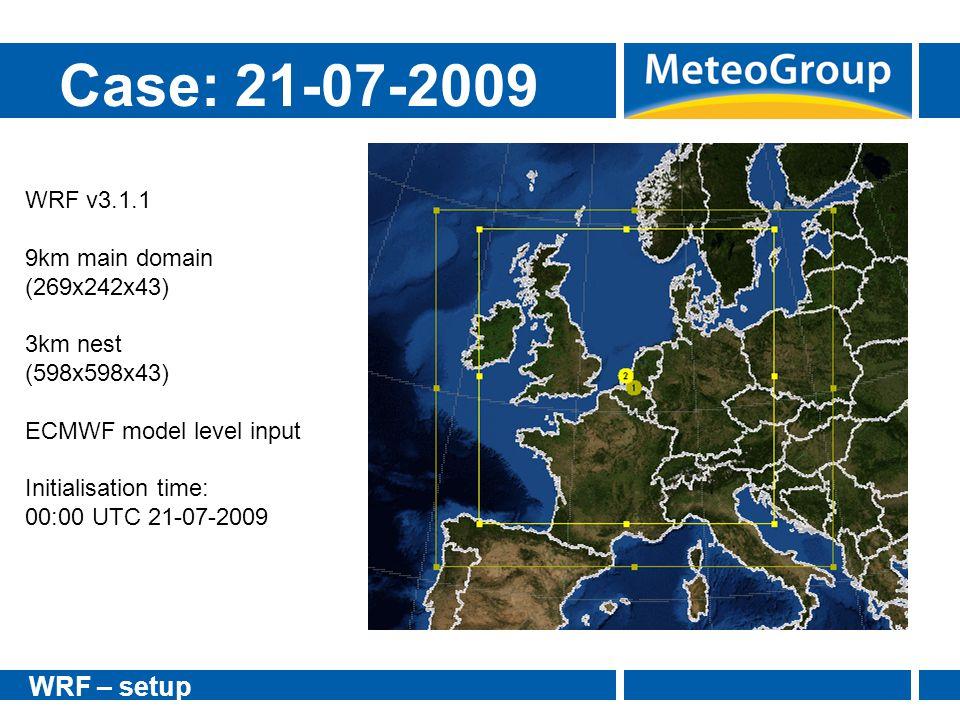 Case: 21-07-2009 WRF – setup WRF v3.1.1 9km main domain (269x242x43)