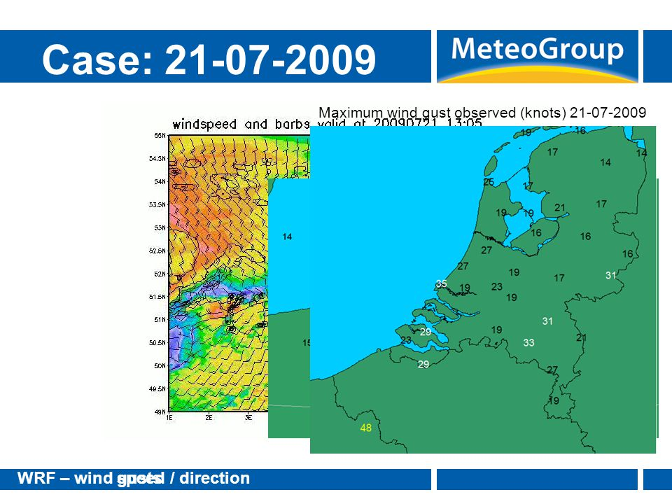Case: 21-07-2009 WRF – wind gusts speed / direction