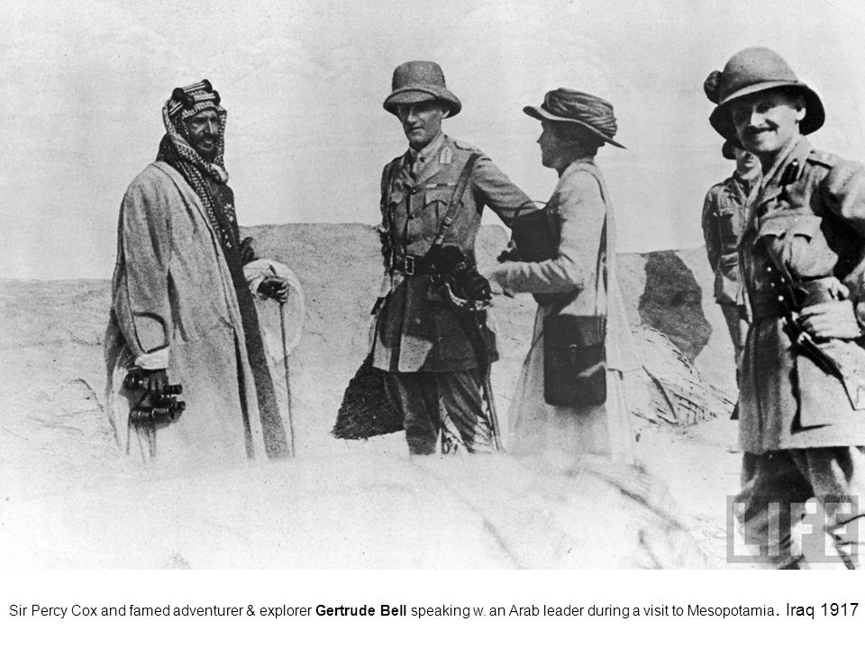 Sir Percy Cox and famed adventurer & explorer Gertrude Bell speaking w