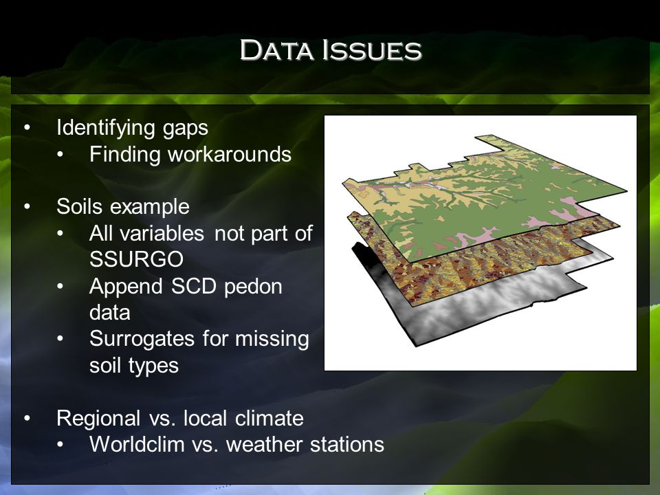 Data Issues Identifying gaps Finding workarounds Soils example
