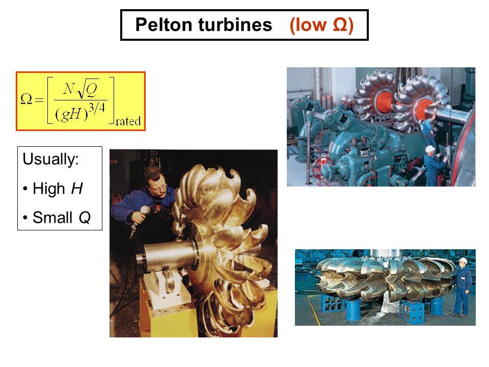 Pelton turbines (low Ω)