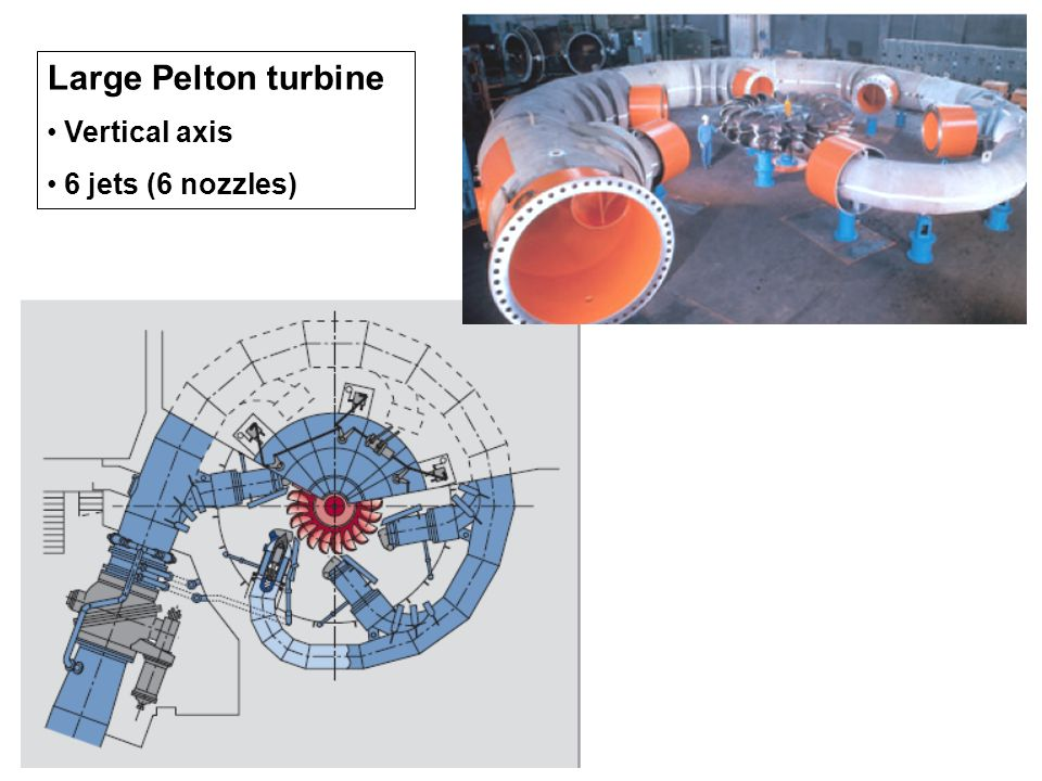 Large Pelton turbine Vertical axis 6 jets (6 nozzles)