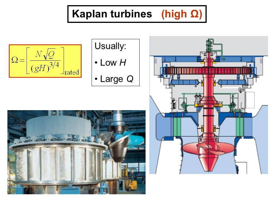 Kaplan turbines (high Ω)