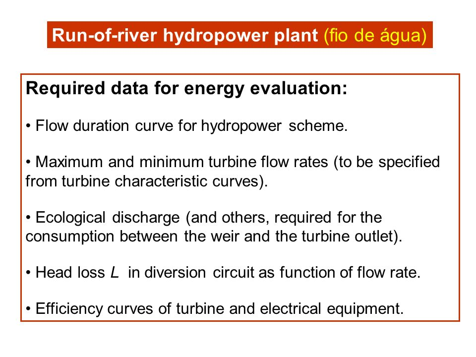 Required data for energy evaluation: