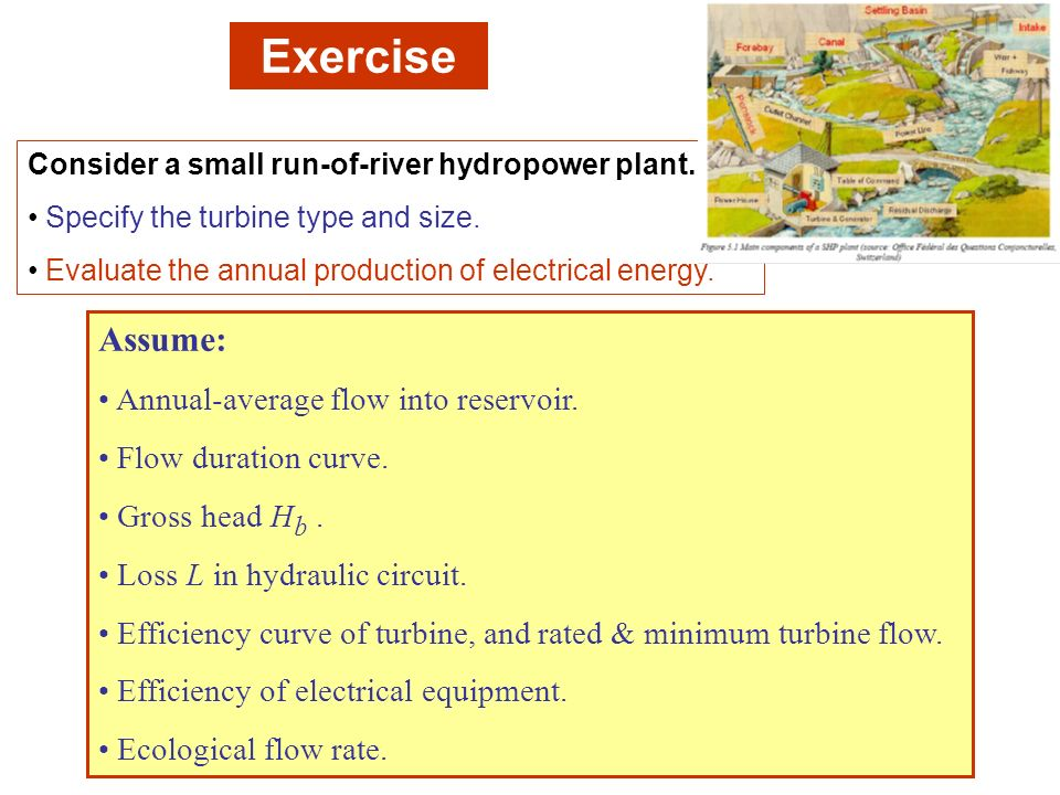 Exercise Assume: Annual-average flow into reservoir.
