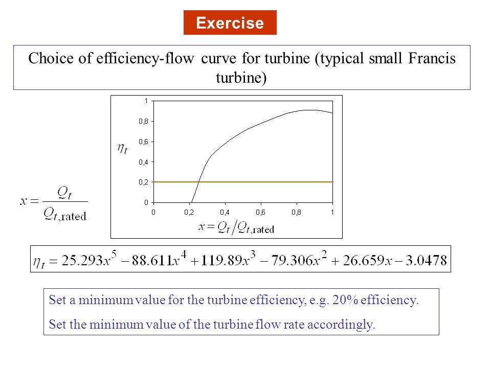 Exercise Choice of efficiency-flow curve for turbine (typical small Francis turbine)
