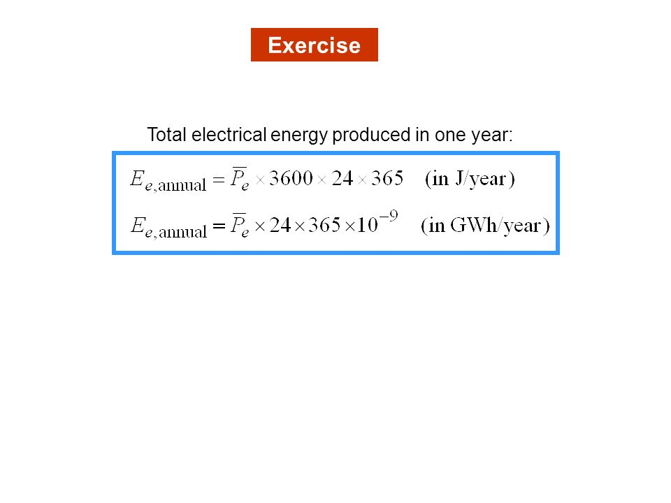 Total electrical energy produced in one year: