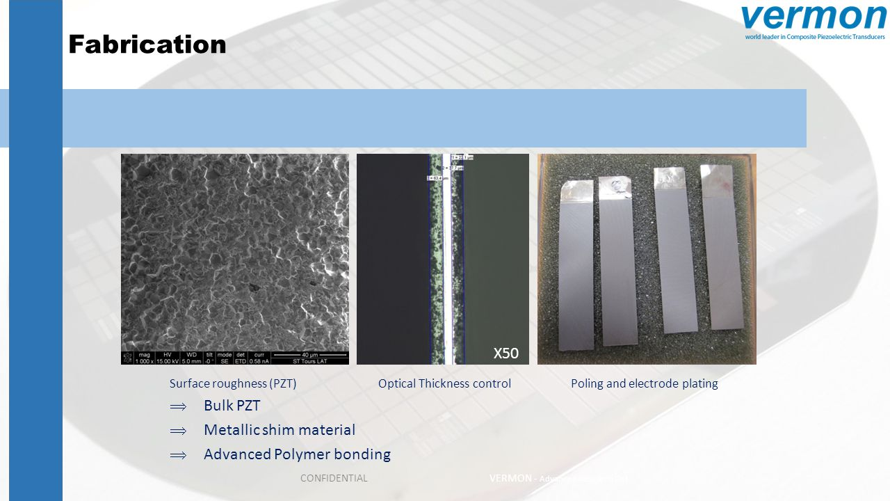 Fabrication X50 Bulk PZT Metallic shim material