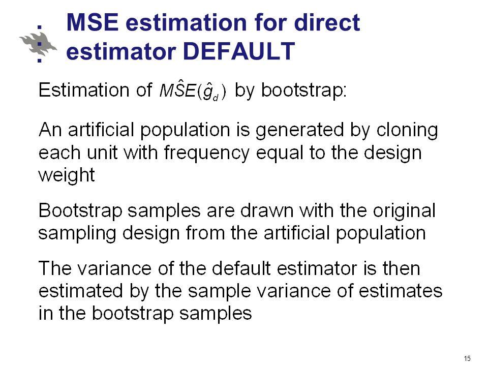 MSE estimation for direct estimator DEFAULT