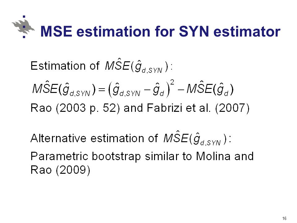 MSE estimation for SYN estimator