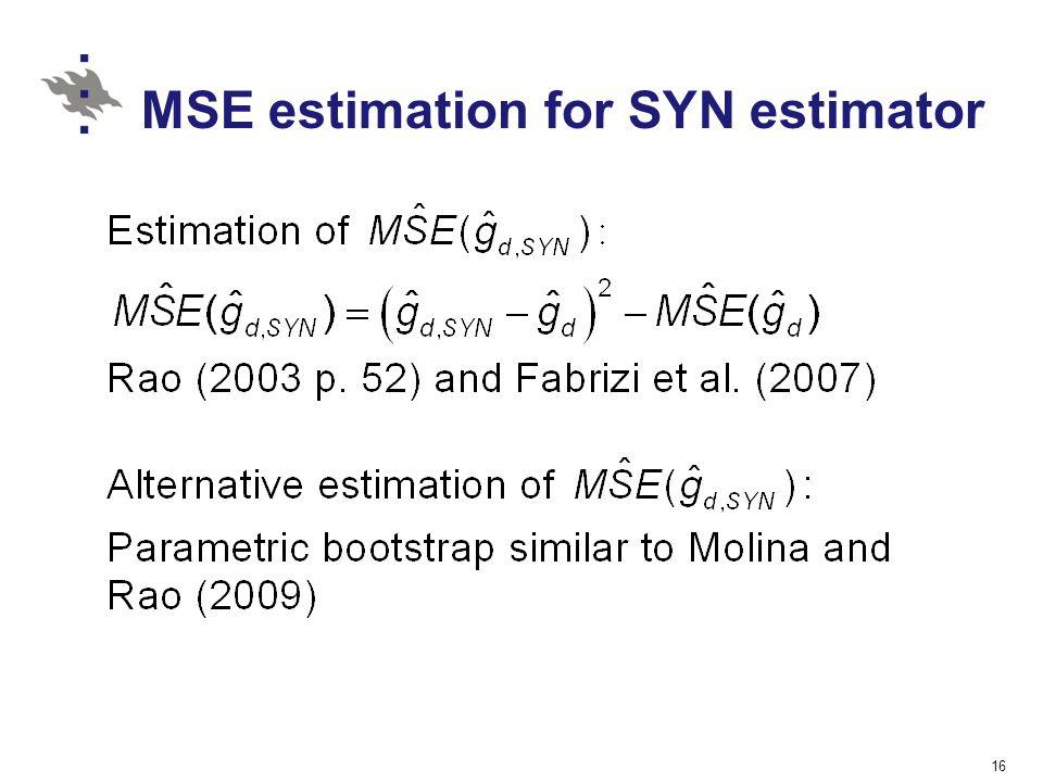 MSE estimation for SYN estimator