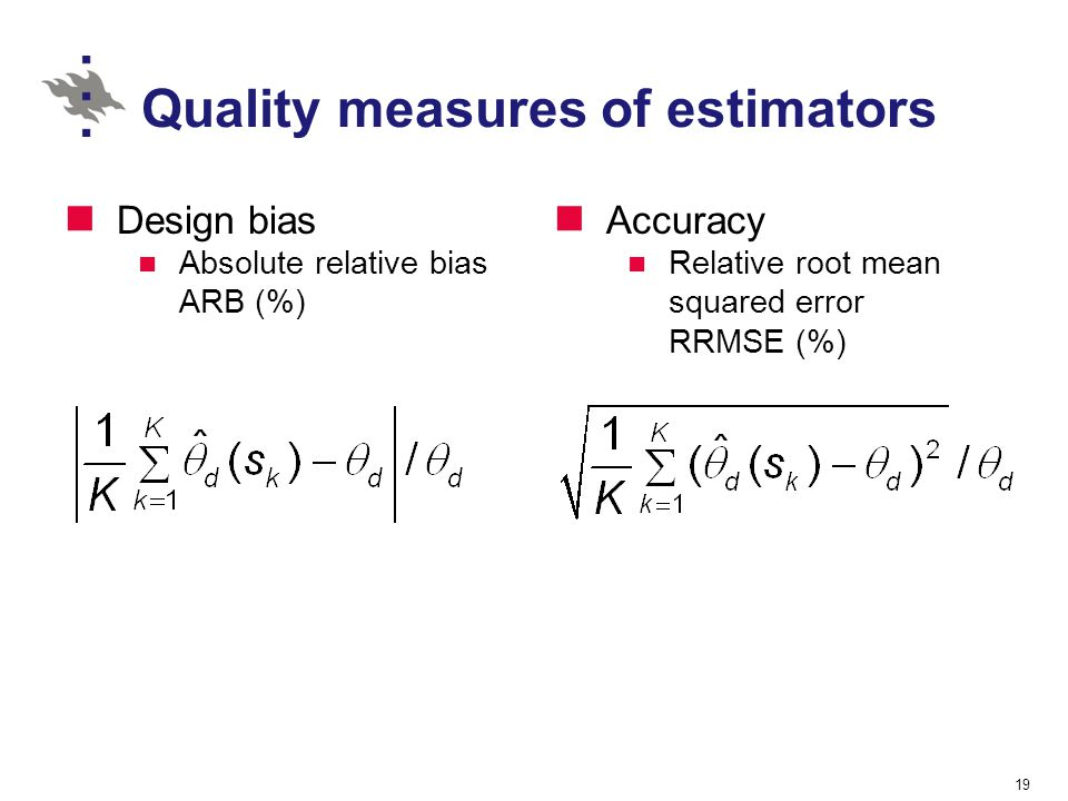 Quality measures of estimators