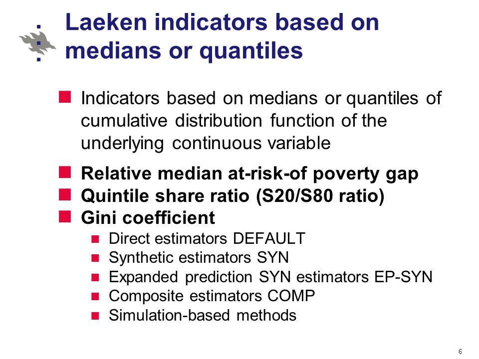 Laeken indicators based on medians or quantiles