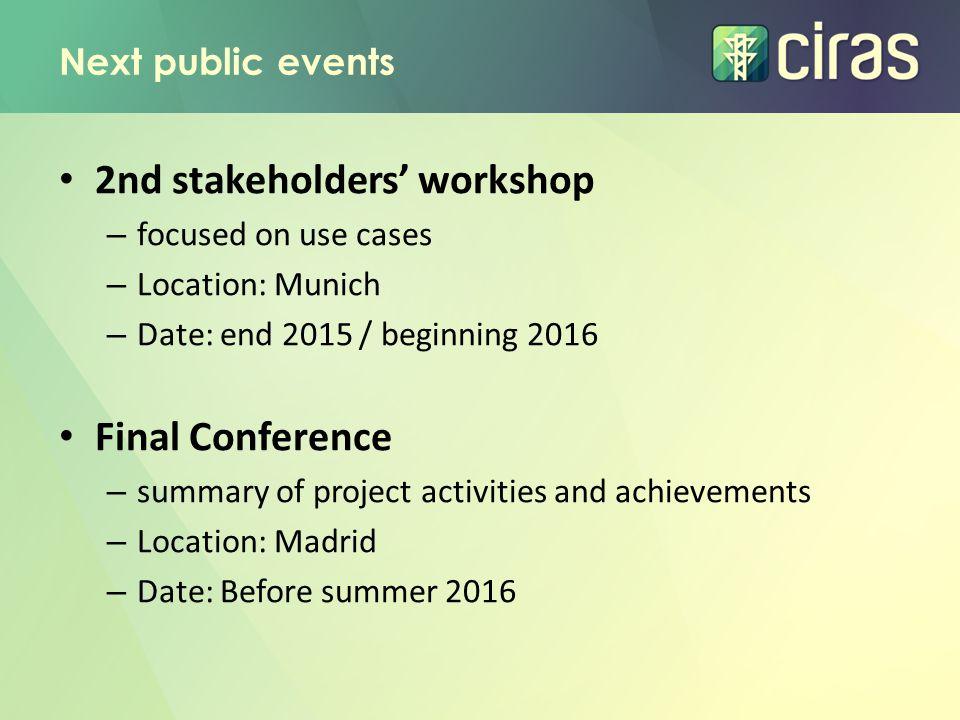 2nd stakeholders' workshop