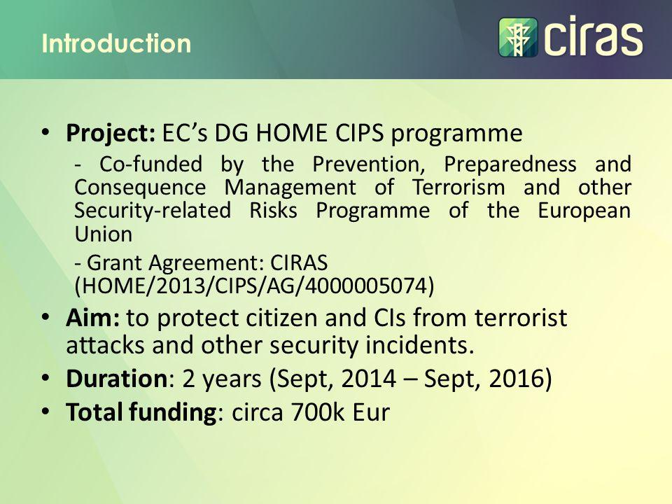 Project: EC's DG HOME CIPS programme