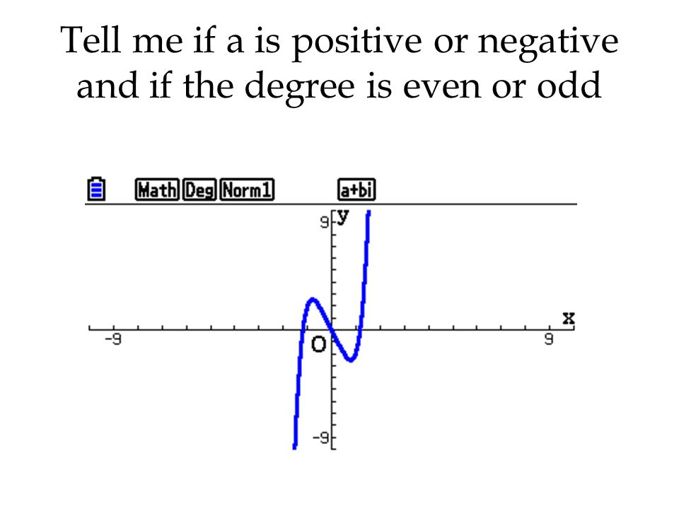 Tell me if a is positive or negative and if the degree is even or odd