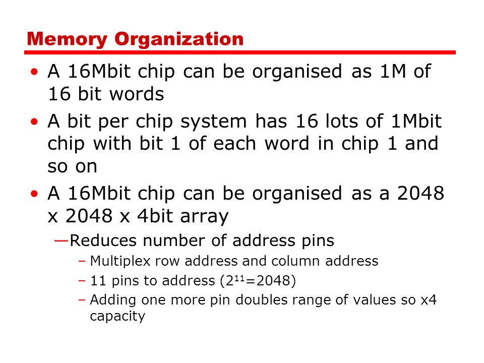 A 16Mbit chip can be organised as 1M of 16 bit words