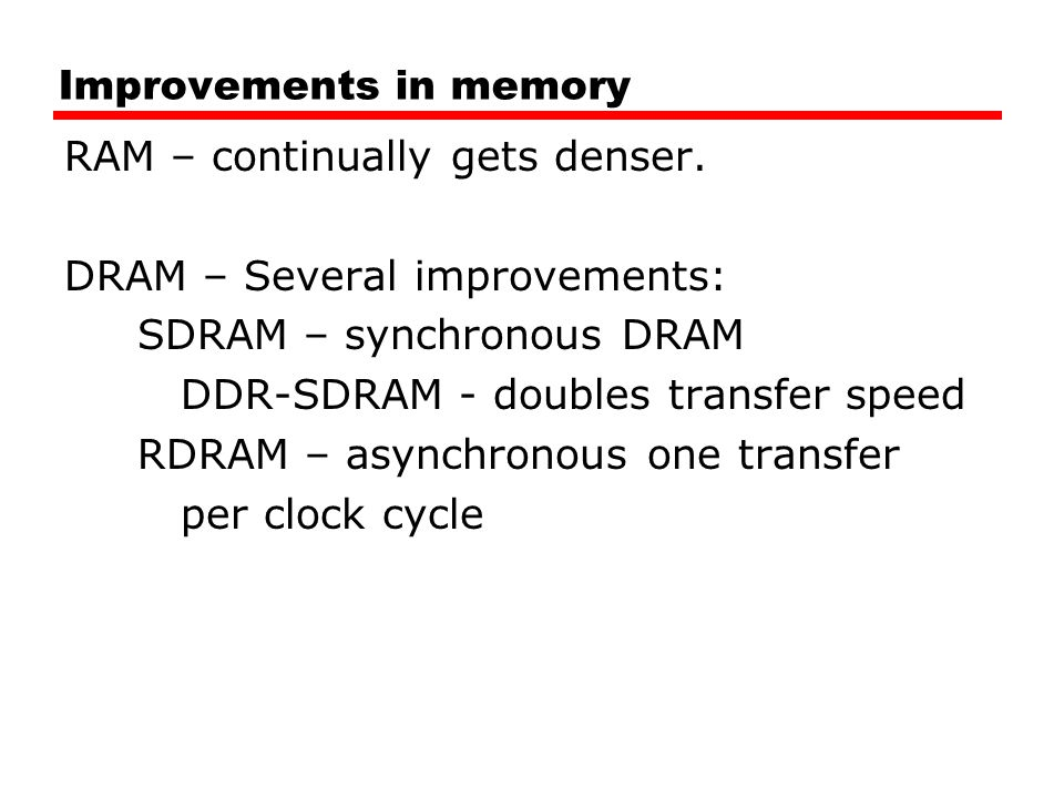 Improvements in memory