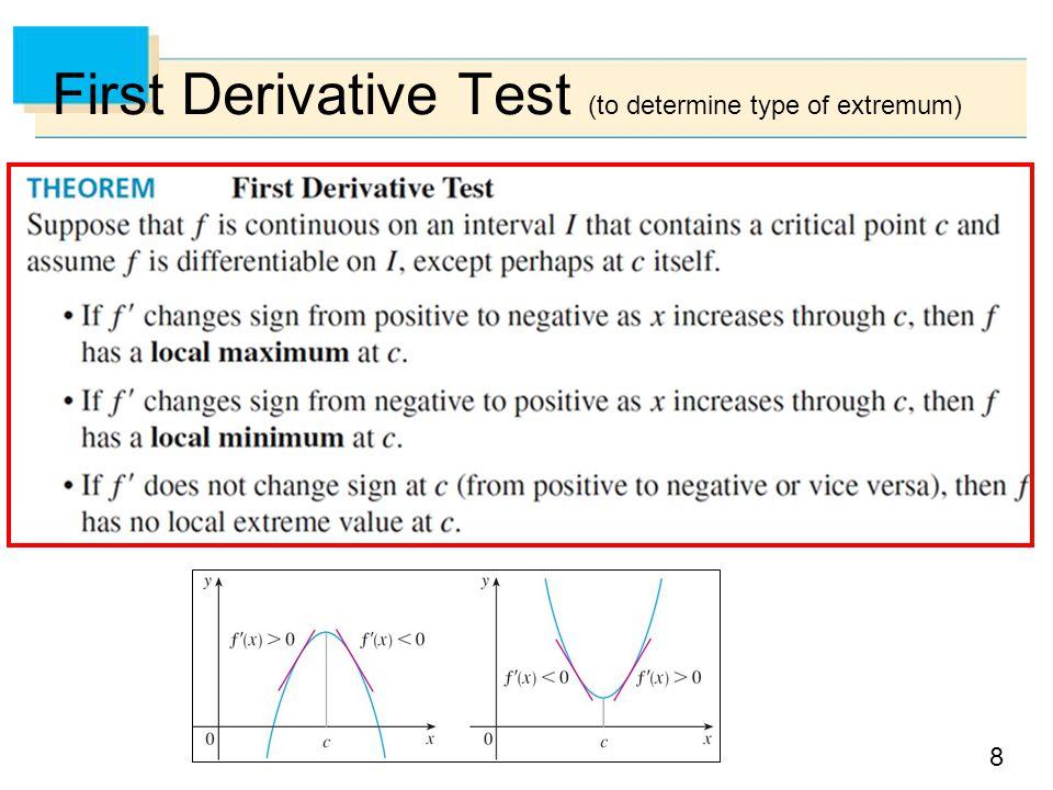 First Derivative Test (to determine type of extremum)