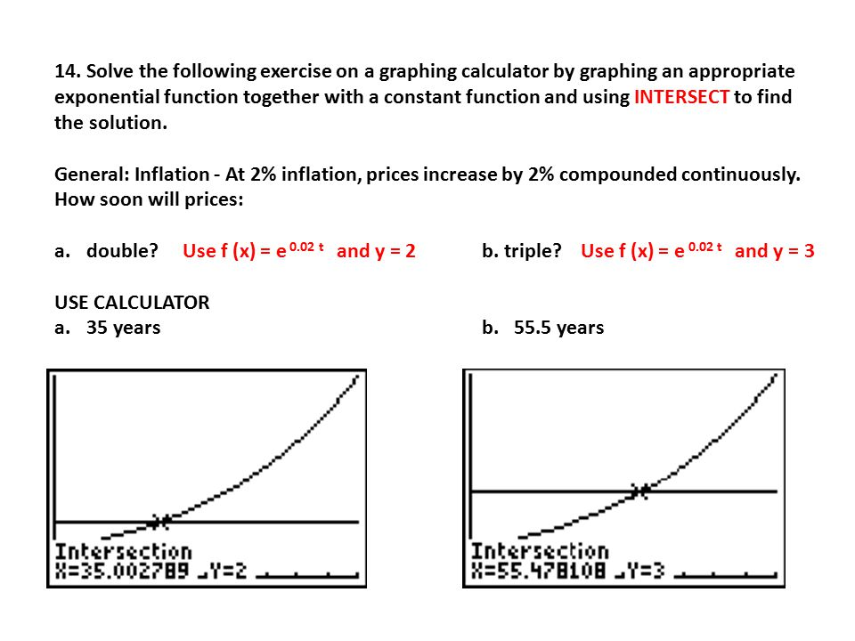 14. Solve the following exercise on a graphing calculator by graphing an appropriate