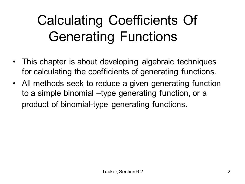 Calculating Coefficients Of Generating Functions