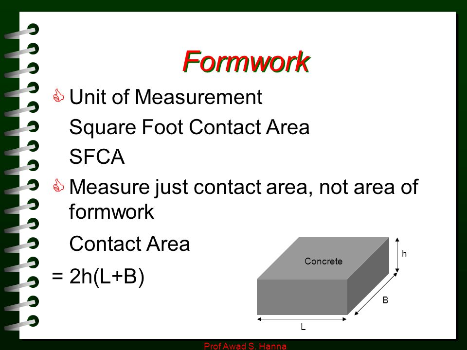 Formwork Unit of Measurement Square Foot Contact Area SFCA