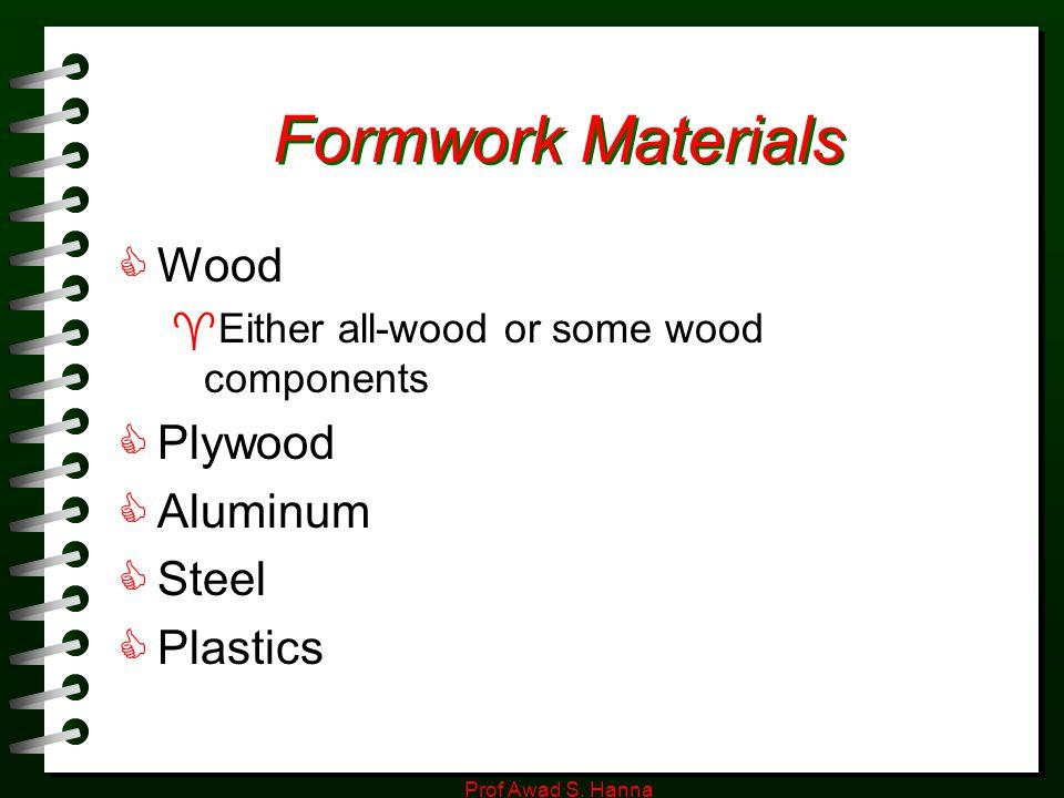 Formwork Materials Wood Plywood Aluminum Steel Plastics