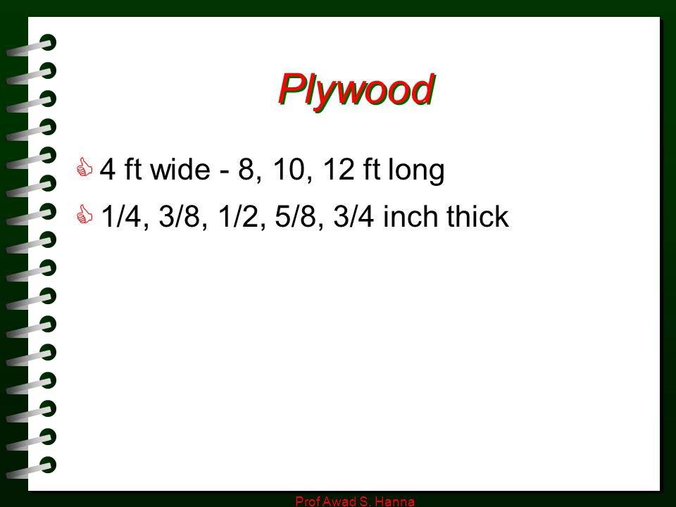 Plywood 4 ft wide - 8, 10, 12 ft long