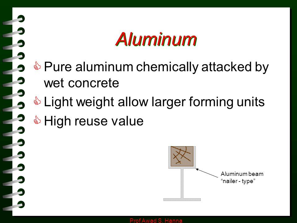 Aluminum Pure aluminum chemically attacked by wet concrete