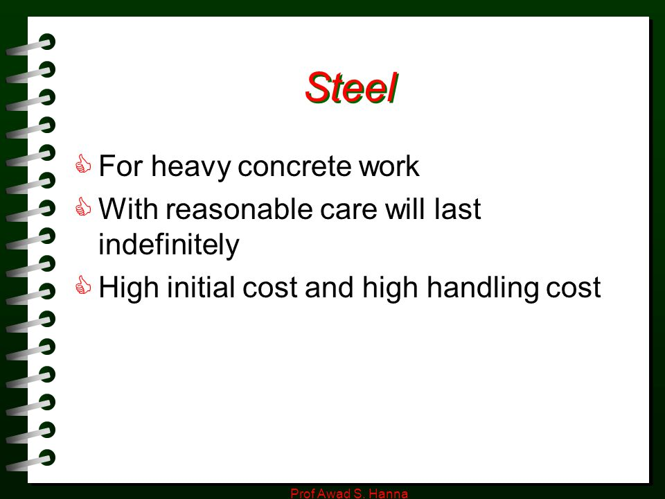 Steel For heavy concrete work