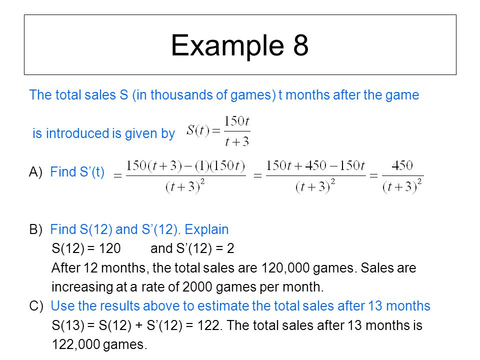 Example 8 The total sales S (in thousands of games) t months after the game. is introduced is given by.