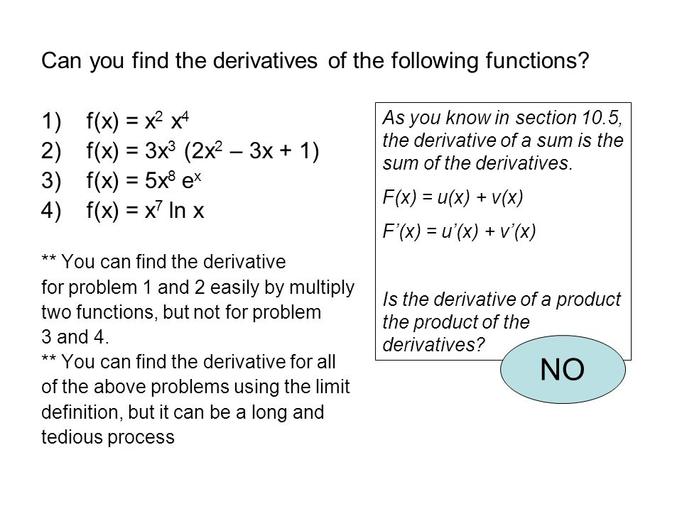 NO Can you find the derivatives of the following functions