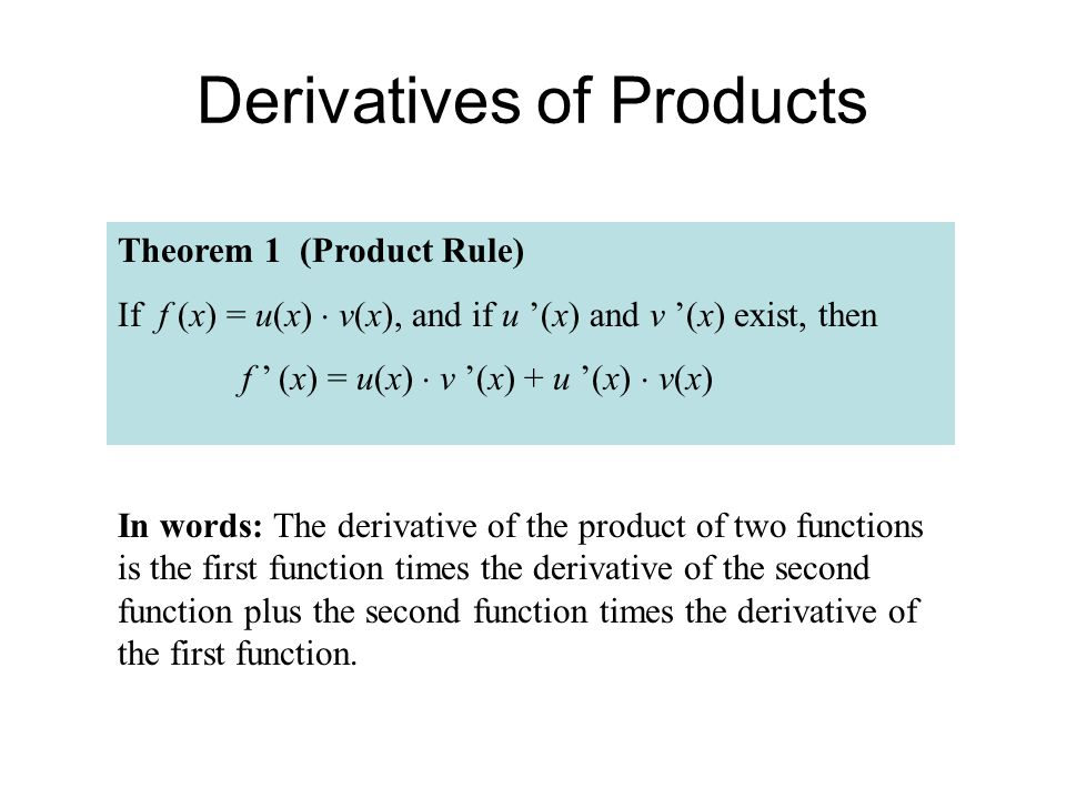 Derivatives of Products