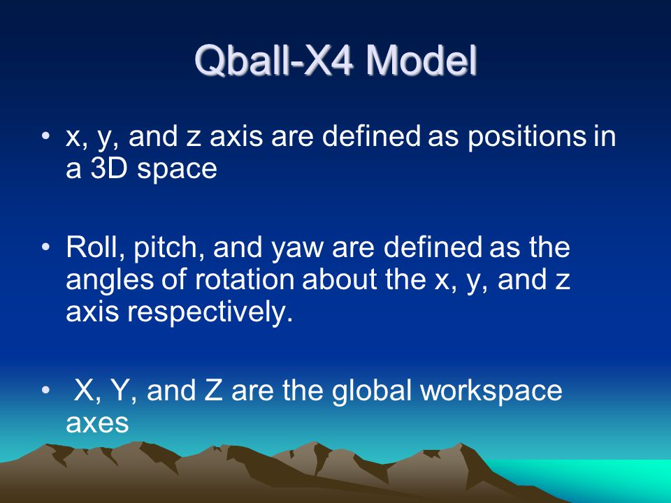 Qball-X4 Model x, y, and z axis are defined as positions in a 3D space