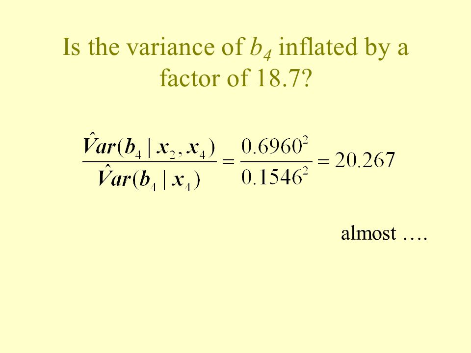Is the variance of b4 inflated by a factor of 18.7