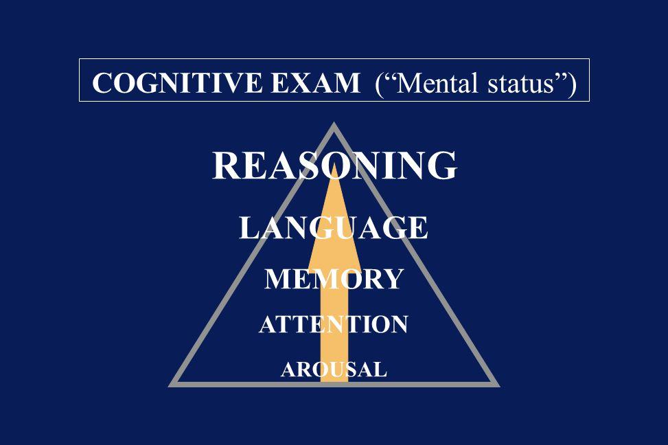 REASONING LANGUAGE COGNITIVE EXAM ( Mental status ) MEMORY ATTENTION
