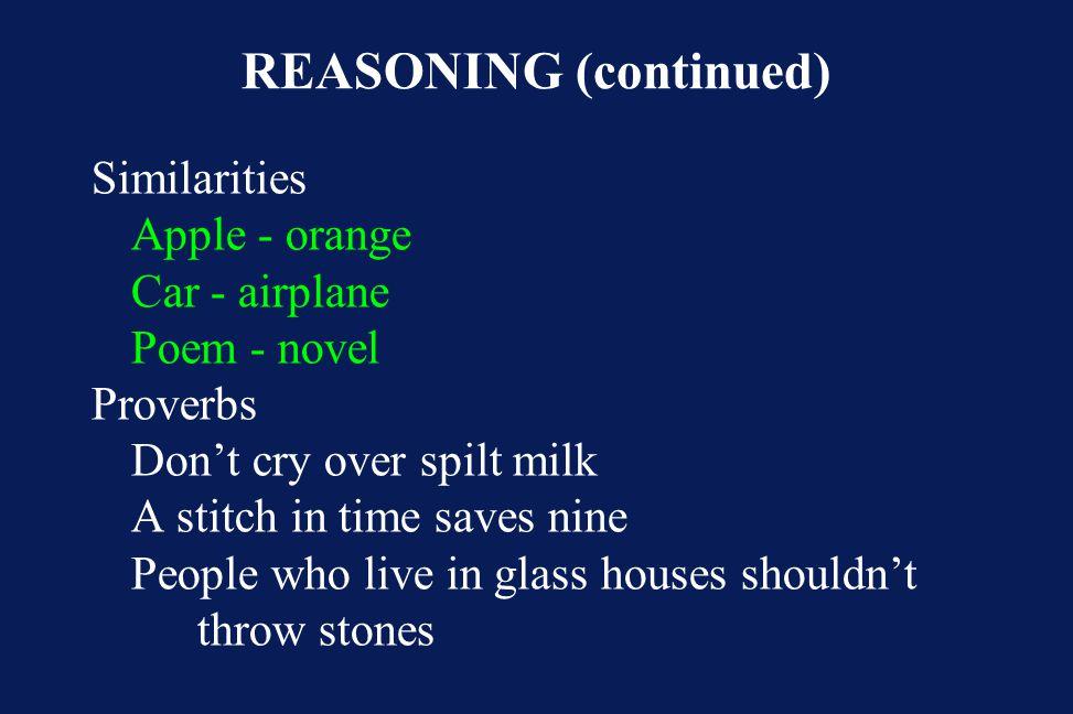 REASONING (continued)