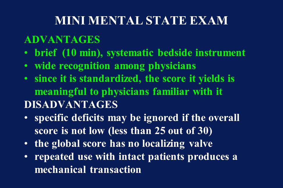 MINI MENTAL STATE EXAM ADVANTAGES