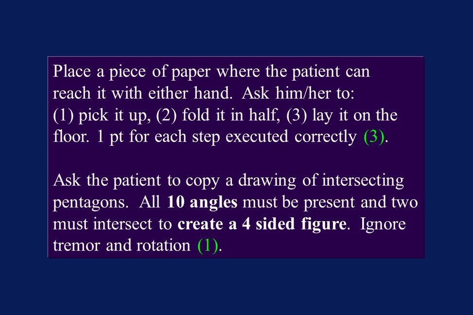 Place a piece of paper where the patient can