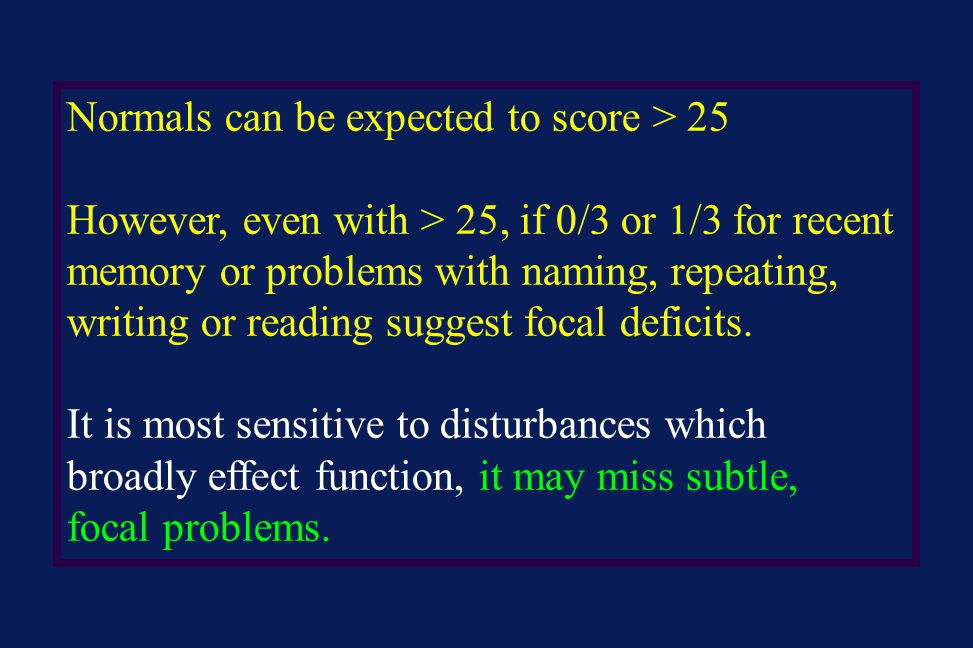 Normals can be expected to score > 25
